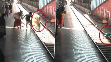 Mumbai: मुंबई के दादर स्टेशन पर भागने की कोशिश में ट्रेन के आगे कूदी महिला, पुलिसकर्मी ने बचाया, देखें Video