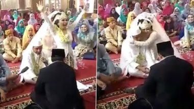 Viral Video: दूल्हे द्वारा 'कुबूल है' कहने के बाद खुशी से कूदने लगी दुल्हन, उसके बाद किया कुछ ऐसा लोग हुए हंसी से लोटपोट, देखें वीडियो
