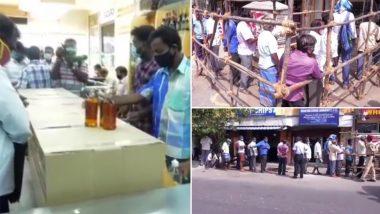 पुडुचेरी में आज से शराब की दुकानें खुलने के बाद बड़ी संख्या में खरीददारों की दिखी भीड़