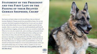 अमेरिकी राष्ट्रपति जो बाइडेन के कुत्ते Champ की मौत, पत्नी-पत्नी दोनों ने जताया दुख