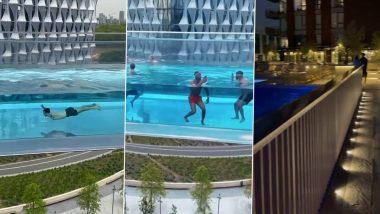 Sky Pool Viral Video: जमीन से 115 फीट की ऊंचाई पर हवा में बना है यह स्काई पूल, जानें कहां मौजूद है दुनिया का यह अनोखा स्वीमिंग पूल