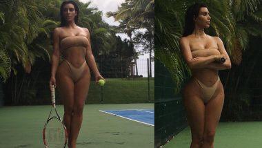 Kim Kardashian ने बिकिनी पहनकर खेला टेनिस, बोल्ड फोटोशूट ने मचाया हंगामा