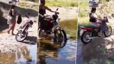 Video: सिर पर बर्तन और ढेर सारा सामान लेकर महिला ने पानी में चलाई बाइक, वीडियो देख हो जाएंगे दंग