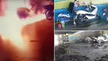 Dangerous Revenge: पैचअप करने से इनकार करने के बाद महिला ने फूकीं पूर्व प्रेमी की बाइक, देखें डरावना वीडियो