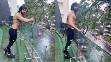 When the weather took a turn in Mumbai, Varun Dhawan was seen shirtless enjoying the rain