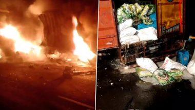 Raod Accident: मुंबई-अहमदाबाद हाईवे पर बड़ा हादसा, 2 ट्रकों के बीच टक्कर के बाद लगी आग, 1 चालक की मौत