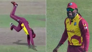 WI vs SA T20: पहली बॉल पर विकेट लेने के बाद Chris Gayle का अनोखा सेलिब्रेशन, सोशल मीडिया पर वीडियो हुआ वायरल (Video)
