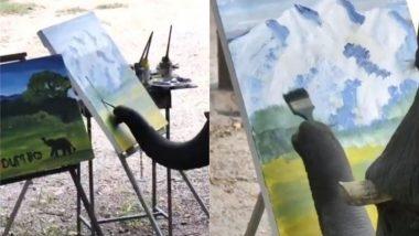 कलाकार बना हाथी, कैनवास पर ब्रश की मदद से पेंटिंग करते गजराज का मनमोहक वीडियो देख बन जाएगा आपका दिन (Watch Viral Video)