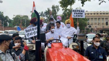 Farmers Protest: कृषि कानूनों के विरोध में ट्रैक्टर चलाकर संसद पहुंचे राहुल गांधी, हिरासत में लिए गए कांग्रेस नेता