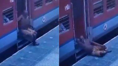 बाल-बाल बची बुजुर्ग यात्री की जान, चलती ट्रेन से उतरने की कोशिश में नीचे गिरा तो कॉन्स्टेबल ने ऐसे बचाई उसकी जिंदगी (Watch Viral Video)