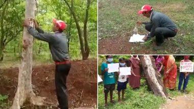 Save Trees Movement: छत्तीसगढ़ में सड़क निर्माण में कटने वाले 2,900 पेड़ों को बचाने के लिए पार्यावरण कार्यकर्ता ने चिपकाएं शिव पार्वती की तस्वीरें