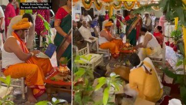 Work From Wedding Video: मंडप में दूल्हे का लैपटॉप पर 'वर्क फ्रॉम वेडिंग क्लिप वायरल, वीडियो देख लोगों ने दिए जबरदस्त रिएक्शन