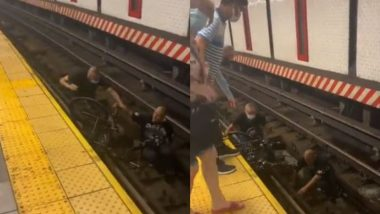 बाल-बाल बची जान! व्हीलचेयर पर बैठा शख्स सबवे ट्रेन की पटरी पर गिरा, दूसरे शख्स ने ऐसे बचाई उसकी जिंदगी (Watch Viral Video)