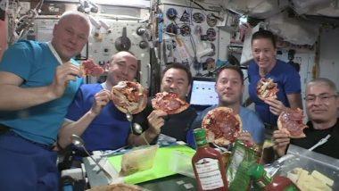 Astronauts Enjoy 'Floating Pizza': स्पेस पर अंतरिक्ष यात्रियों ने 'फ्लोटिंग पिज़्ज़ा' का लिया आनंद, चीजों के हवा में तैरने का शॉकिंग वीडियो वायरल