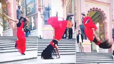 Backflip in Saree: लाल साड़ी में लड़की ने किया जबरदस्त बैकफ्लिप, नेटीजन्स हुए हैरान, देखें वीडियो