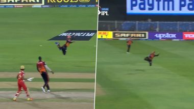 IPL 2021, PBKS vs SRH: एसआरएच के इस फील्डर ने पकड़ा हैरतअंगेज कैच, देखकर आपके भी उड़ जाएंगे होश (देखें वीडियो)