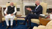 PM Mod-Biden Bilateral Meeting: प्रधानमंत्री नरेंद्र मोदी पहुंचे व्हाइट हाउस, अमेरिकी राष्ट्रपति जो बाइडेन के साथ शुरू हुई द्विपक्षीय बैठक (Watch Video)