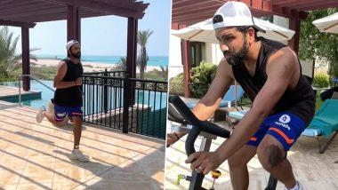 IPL 2021 के लिए इस तरह फिटनेस ट्रेनिंग कर रहे है रोहित शर्मा, Quarantine के दौरान भी रख रहे सेहत का ध्यान (Video)
