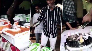 कर्नाटक बीजेपी विधायक के बेटे ने iPhone से काटा केक, कांग्रेस ने बताया इसे धन का बदसूरत प्रदर्शन (Watch Video)