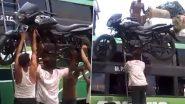 Desi Jugad Video: बाइक को बस पर चढ़ाने के लिए शख्स ने किया देसी जुगाड़, वीडियो देख हो जाएंगे हैरान