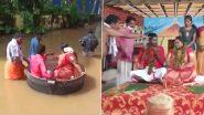 केरल में बाढ़ के बीच अनोखी शादी, दूल्हा-दुल्हन को खाना बनाने वाले बर्तन में बैठाकर मंदिर पहुंचाया गया- देखें वीडियो