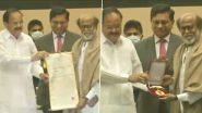 दिल्ली: उपराष्ट्रपति वेंकैया नायडू और केंद्रीय सूचना एवं प्रसारण मंत्री अनुराग ठाकुर ने अभिनेता रजनीकांत को दादासाहेब फाल्के पुरस्कार से किया सम्मानित